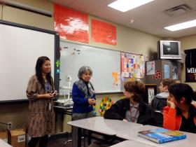 Shigeko Sasamori (second from left) speaks to a Japanese class Tuesday at Booker T. Washington High School. Sasamori is one of two survivors of the Aug. 6, 1945, atomic bombing of Hiroshima, Japan, visiting Tulsa this week.