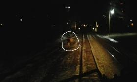 A least two people are seen near the tracks, minutes before the derailment.