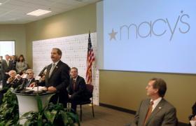 Macy's Vice President Frank Jillian, in December, makes announcement concerning new Macy's Center