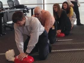 Councilors Lakin, Patrick, Gilbert and Moore learn CPR at City Hall.