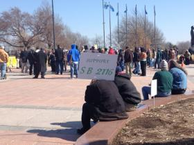 A pro-pot rally is held in front of the state capitol