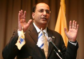 Ambassador Ido Aharoni visited the University of Tulsa Monday. In this 2011 photo, he's pictured at an engagement in New Jersey.
