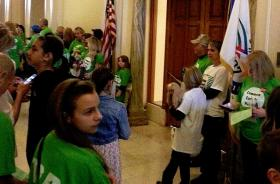 Common Core protesters gather outside of the Governor's office at the state capitol.