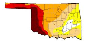 The darker the color, the worse the drought. Tulsa County is considered to be in Moderate Drought.