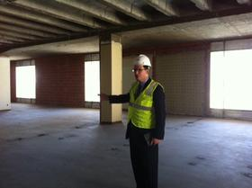 Tulsa Library CEO Gary Shaffer gives of tour of renovation progress on the downtown Central Library.