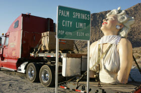 The 18-ton sculpture Forever Marilyn will spend Friday night in Tulsa as it makes its way across the U.S. to Hamilton, N.J. It is in four pieces for the trip.