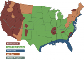 This map from the Insurance Institute for Business & Home Safety shows which natural disasters different areas of the country are at the highest risk for. The gray line across the map is considered the freeze line, with everywhere above it at risk for extreme winter weather.