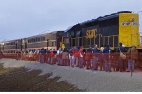 Passengers waiting to board a demo train last winter at Sapulpa