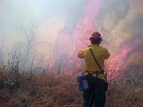 Fire fighters remain on the fire line in western Oklahoma