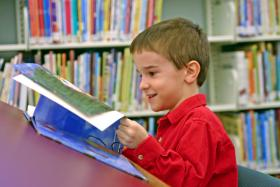 Young boy in a library