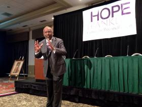 George C. Wright speaks during the John Hope Franklin Center for Reconciliation's fifth annual symposium.
