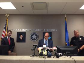 Tulsa County District Attorney Tim Harris (center) speaks Tuesday at a news conference announcing the filing of a court document that outlines evidence against Desmond Campbell. Assistant District Attorney Steve Kunzweiler (left) and Tulsa Police Chief Chuck Jordan (right) also spoke.