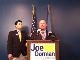 "Democratic candidate for governor Joe Dorman talks about his ""Classrooms First"" education plan Thursday after being introduced by state Rep. Eric Proctor (left)."