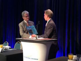 U.S. Senator Tom Coburn made accepted a lifetime appreciation award from Chamber Chair Wade Edmundson