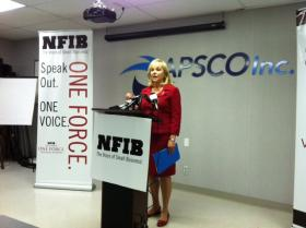 Governor Mary Fallin at a Tulsa news event.