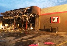The QT at Ferguson, Missouri was destroyed by rioters.