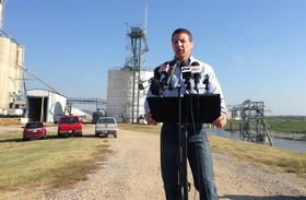 U.S. Rep. Markwayne Mullin speaks Thursday at an agriculture industry event at the Port of Catoosa. He says a proposed EPA rule is creating uncertainty for the state's farmers.