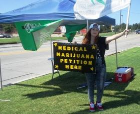 A booth for signing the medical marijuana petition