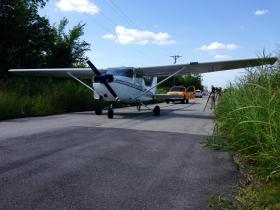 The plane landed on a street near the Tulsa International Airport