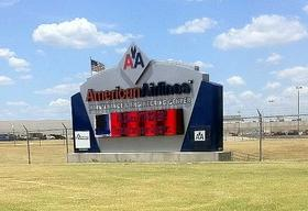 The sign in front of American's base in Tulsa