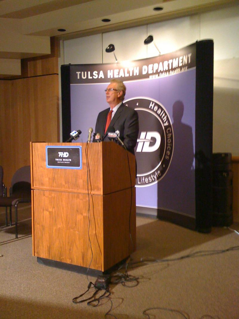 Tulsa Health Department Director Gary Cox briefs the media