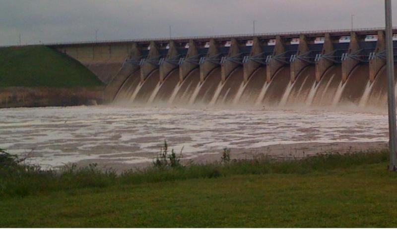 Water rushes from Oklahoma's Keystone Dam at a rate of 55,000 cubic feet per-second