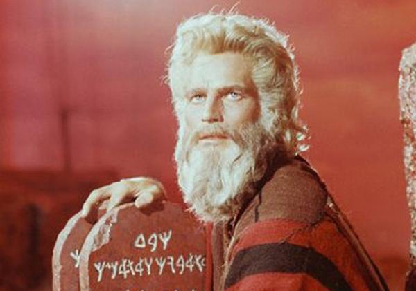 "Charlton Heston as Moses in the 1956 Cecil B. DeMille motion picture ""The 10-Commandments\"""