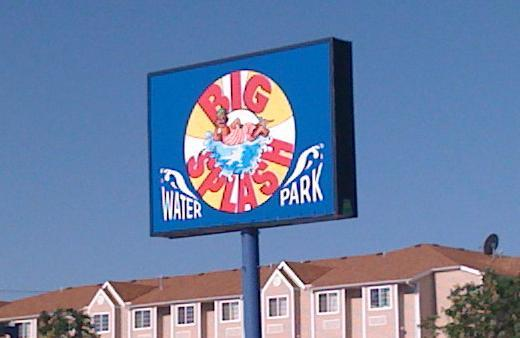 The sign outside of the Big Splash water park on the Tulsa Fairgrounds