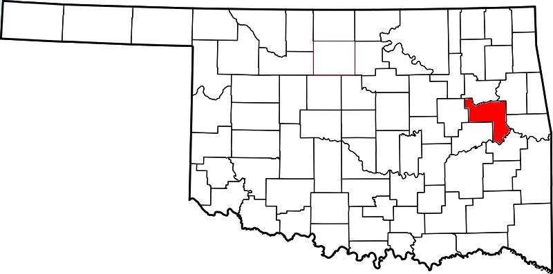 Muskoogee County in red