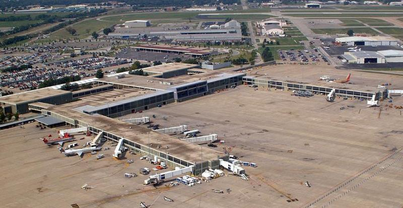 An aerial view of Tulsa's International Airport