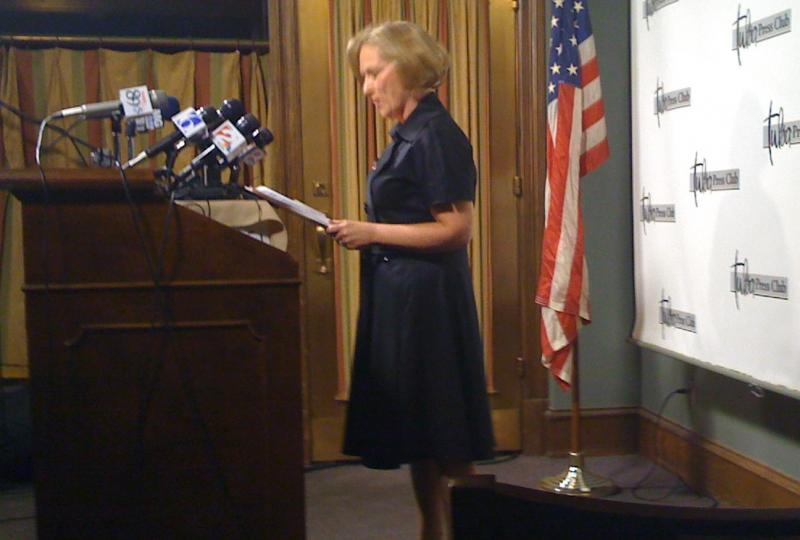 Tulsa Mayor Kathy Taylor announces at the Tulsa Press Club that she will not seek re-election