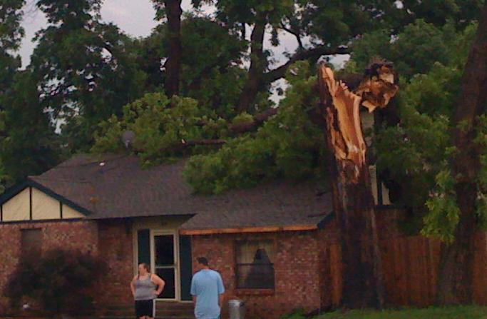 A tree falls on to a house near 52nd and Riverside Drive