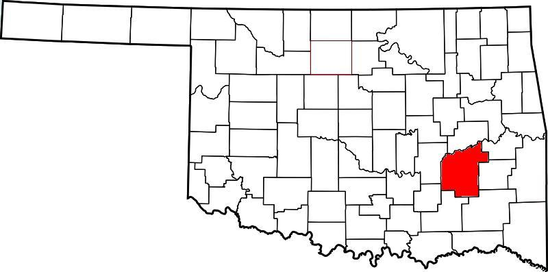 McAlester is the county-seat of Pittsburg COunty. Pittsburg County is colored red.