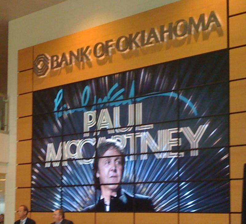 The giant monitor at the BOK Center makes the announcement. Paul McCartney will play Tulsa August 17th.
