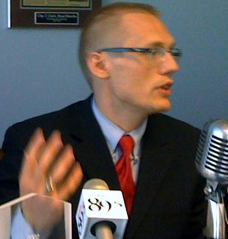File Photo from late May of Clay Clark announcing he would run for mayor of Tulsa.