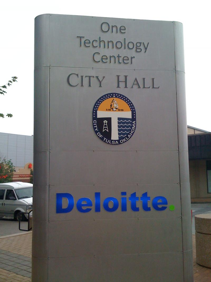 The sign in front of Tulsa's new City Hall