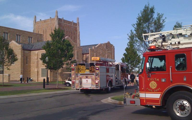 Fire trucks roll to the McFarlin Library on the University of Tulsa campus.