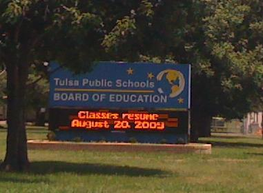 The sign out front of the Tulsa Education Service Center.