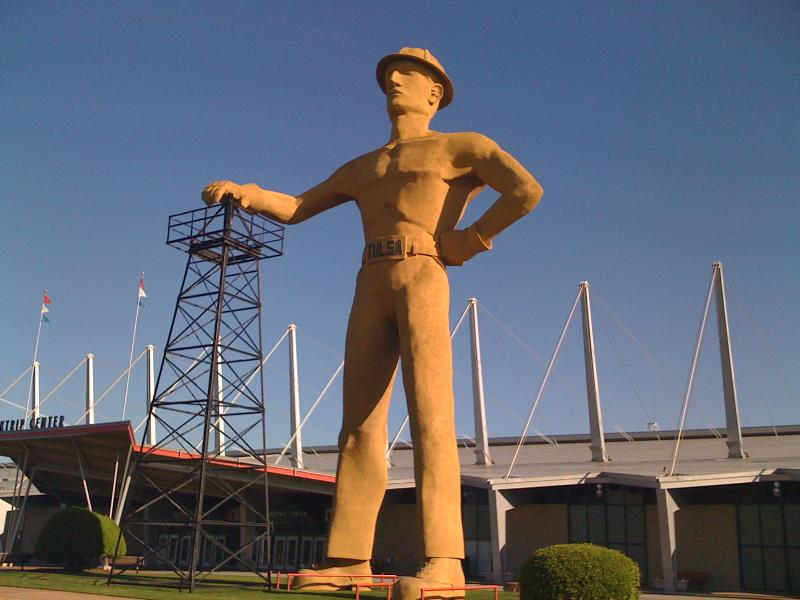 """The \""""Golden Driller\"""" on the Tulsa State Fairgrounds."""