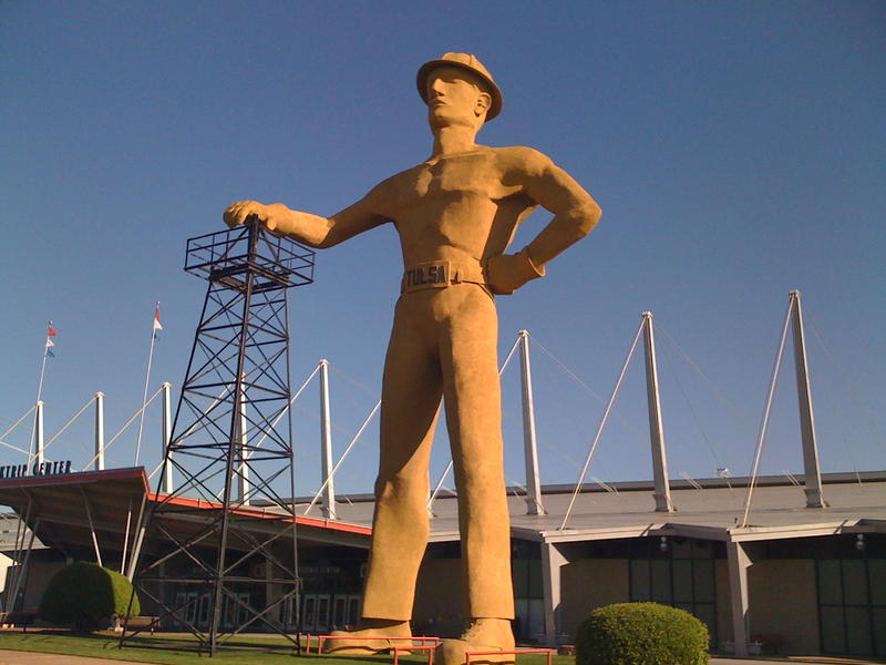 The Golden Driller stands outside the Quik-Trip Center on the Tulsa Fairgrounds.