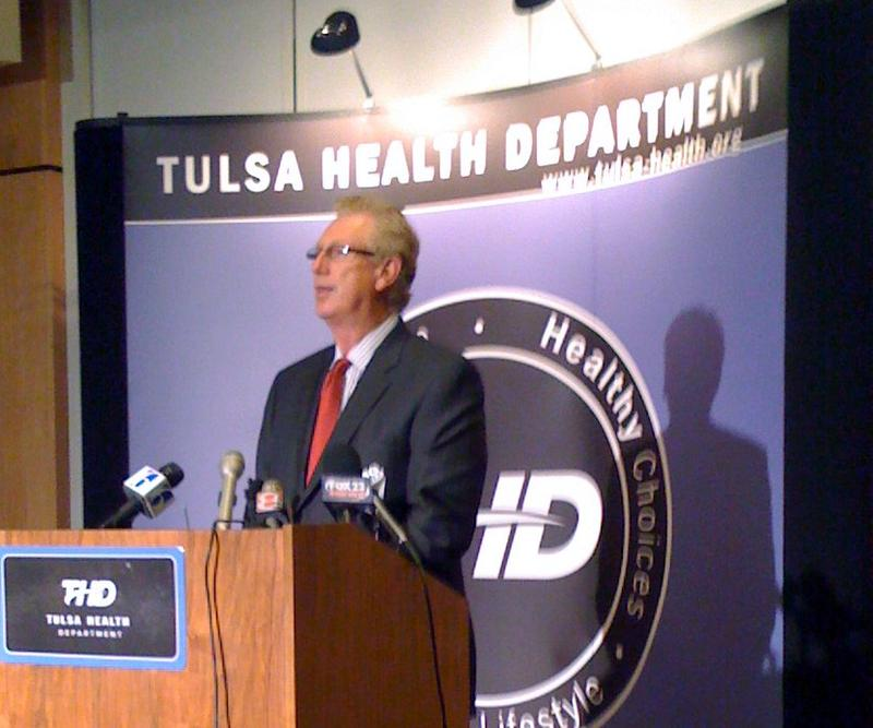 Tulsa Health Department Director Gary Cox at a recent news conference on Swine Flu.