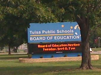 The sign in front of the Tulsa Public Schools' Education Service Center on East 31st Street.