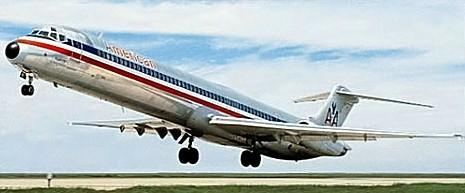 An American Airlines MD-80 takes-off.