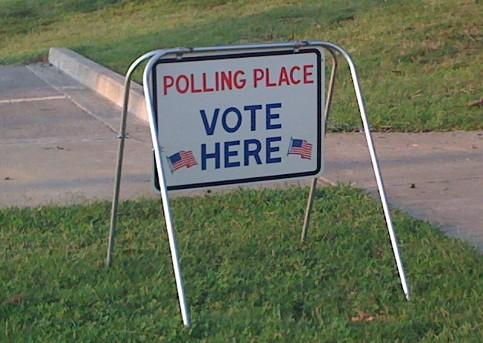 The polling place sign outside of the Forest Park Christian Church at 91st and South Mingo.