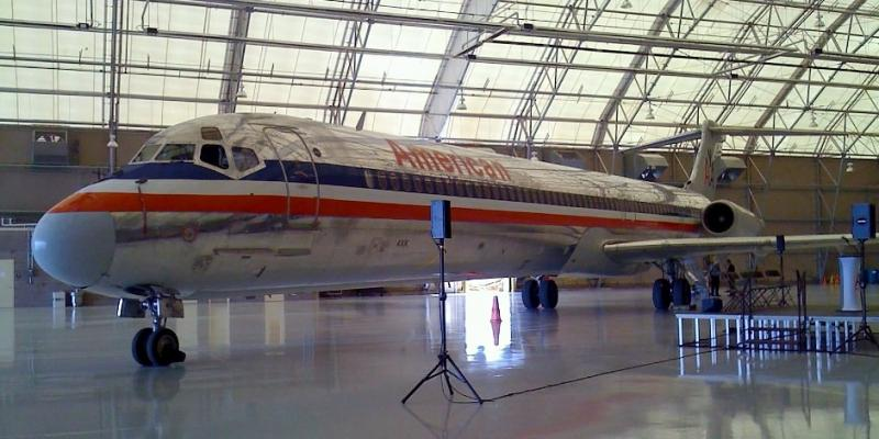An American Airline jet inside the new Hangar-80 at the Tulsa International Airport.