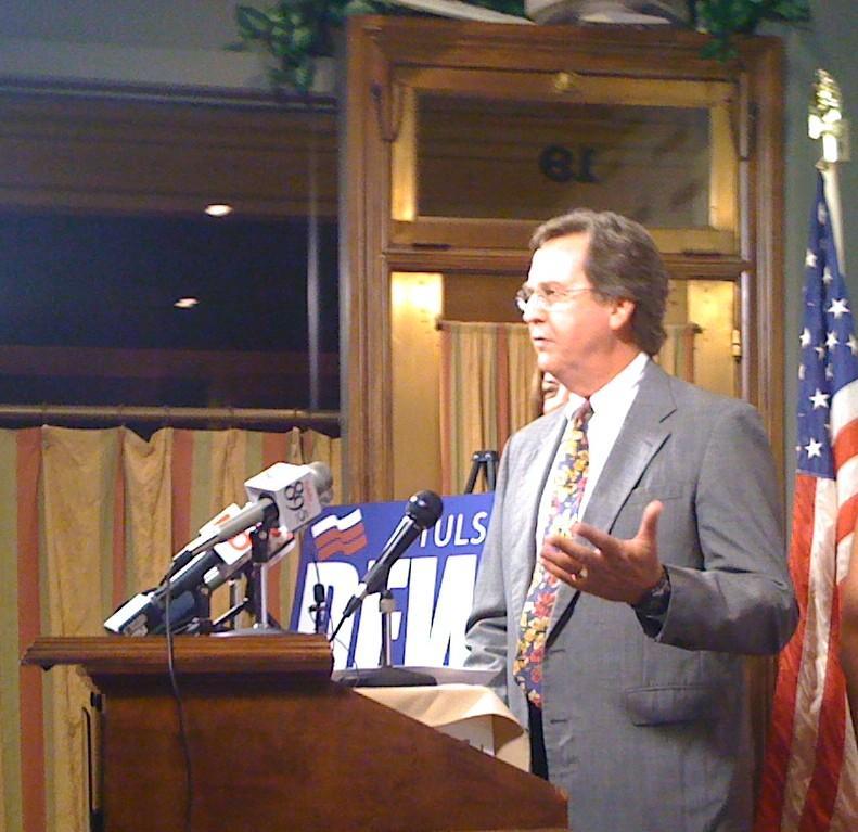 Dewey Bartlett, Jr. announces at the Tulsa Press Club he is running for mayor.