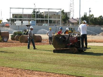 Sod is being installed at the new OneOk Field.