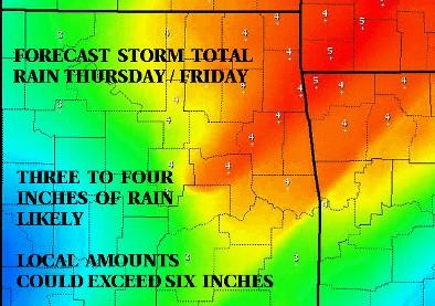 Four or more inches of rain expected in the Tulsa area.