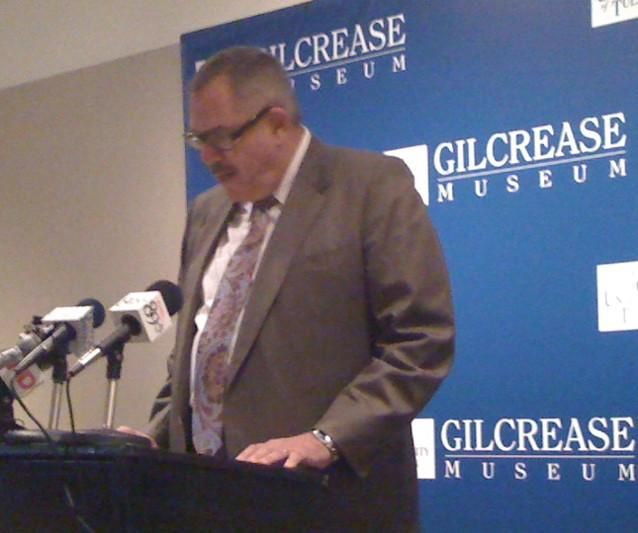 TU President Steadmam Upham makes the announcement at the museum.