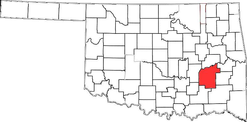 Pittsburg County is colored red.